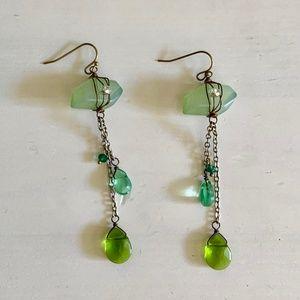 Anthropologie Green Dangly Boho Earrings